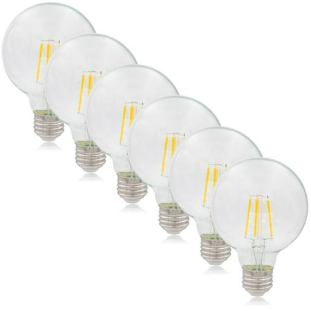 Maxxima G25 LED Globe Filament Bulb, 40 Watt Equal, 500 Lumens 2700K Warm White (6 Pack)