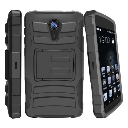 ZTE Quest Case   ZTE N817 Case [ Clip Armor ] Rugged High Impact Defense  Case with Built in Kickstand + Holster - Black