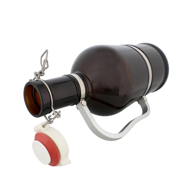 Amber Glass Growler Half Gallon // 64 oz 2 Liter Beer Jug with Swing Lid