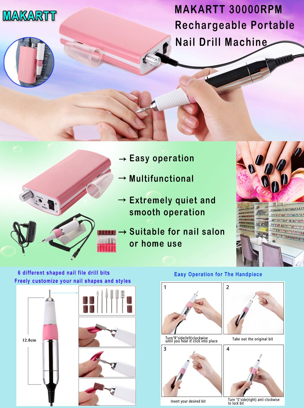 Makartt 30000RPM Rechargeable Nail Drill Machine Electric E File ...