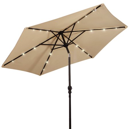 Costway 9FT Patio Solar Umbrella LED Patio Market Steel Tilt W/ Crank Outdoor ()