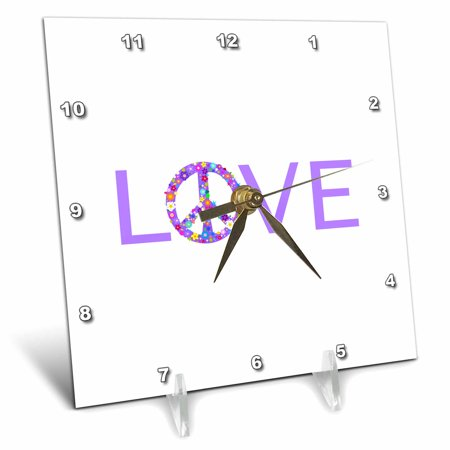 3Drose Purple Love With Floral Peace Sign For O  Girly Hippy Hippie Symbol  Desk Clock  6 By 6 Inch