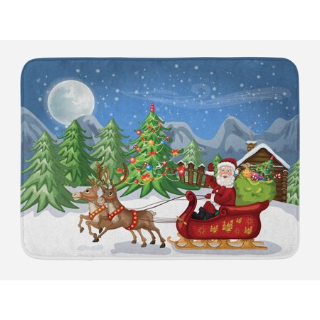 Christmas Bath Mat, Country Landscape at Night with Trees Santa Claus Snowdrift Reindeers Mountains, Non-Slip Plush Mat Bathroom Kitchen Laundry Room Decor, 29.5 X 17.5 Inches, Multicolor, Ambesonne