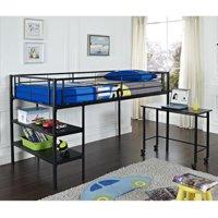 Walker Edison Black Twin Loft Bed with Desk / Shelves