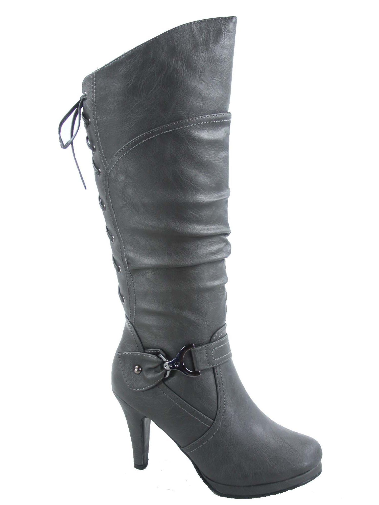 Women Platform Stiletto Lace Up Buckle Fold Over Round Toe Over Knee High Boots