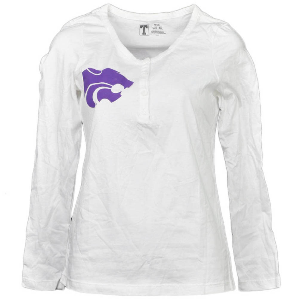 NCAA Kansas State Wildcats White Womens Long Sleeve Tshirt Button Crew Neck XS by T University