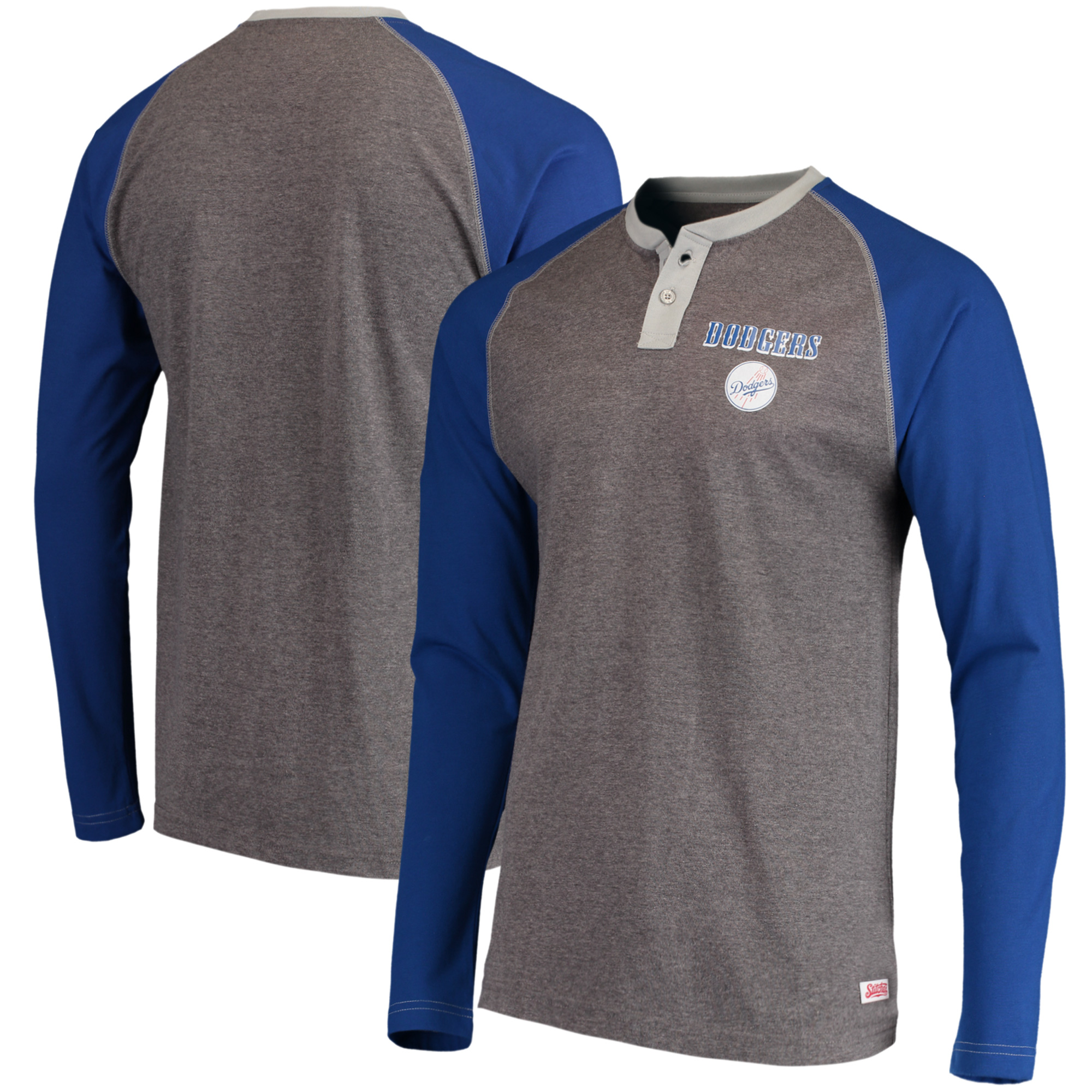 Los Angeles Dodgers Stitches Home Run Long Sleeve Henley T-Shirt - Heathered Gray/Royal