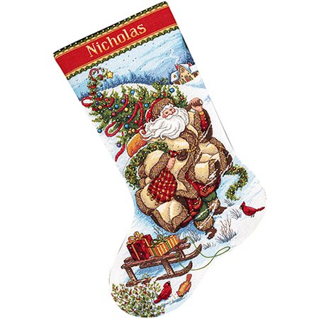 Santa's Journey Stocking Counted Cross-Stitch Kit, 16