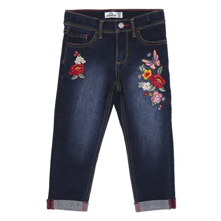 Floral Embroidery Roll Cuff Boyfriend Jeans (Toddler Girls)