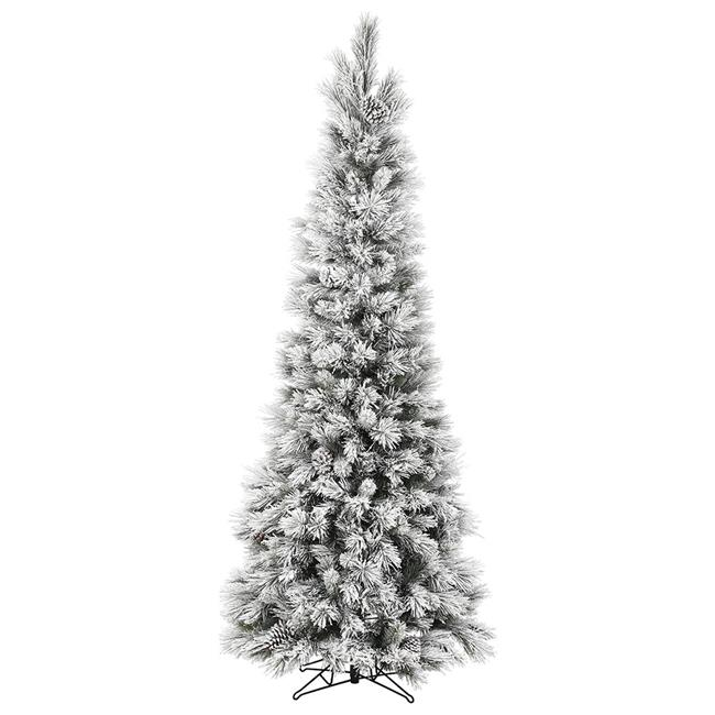 Vickerman G185880 9 ft. x 46 in. Unlit Flocked Ames Pine Pencil Artificial Christmas Tree with Pine Cones & 1125 Tip Count - image 1 de 1
