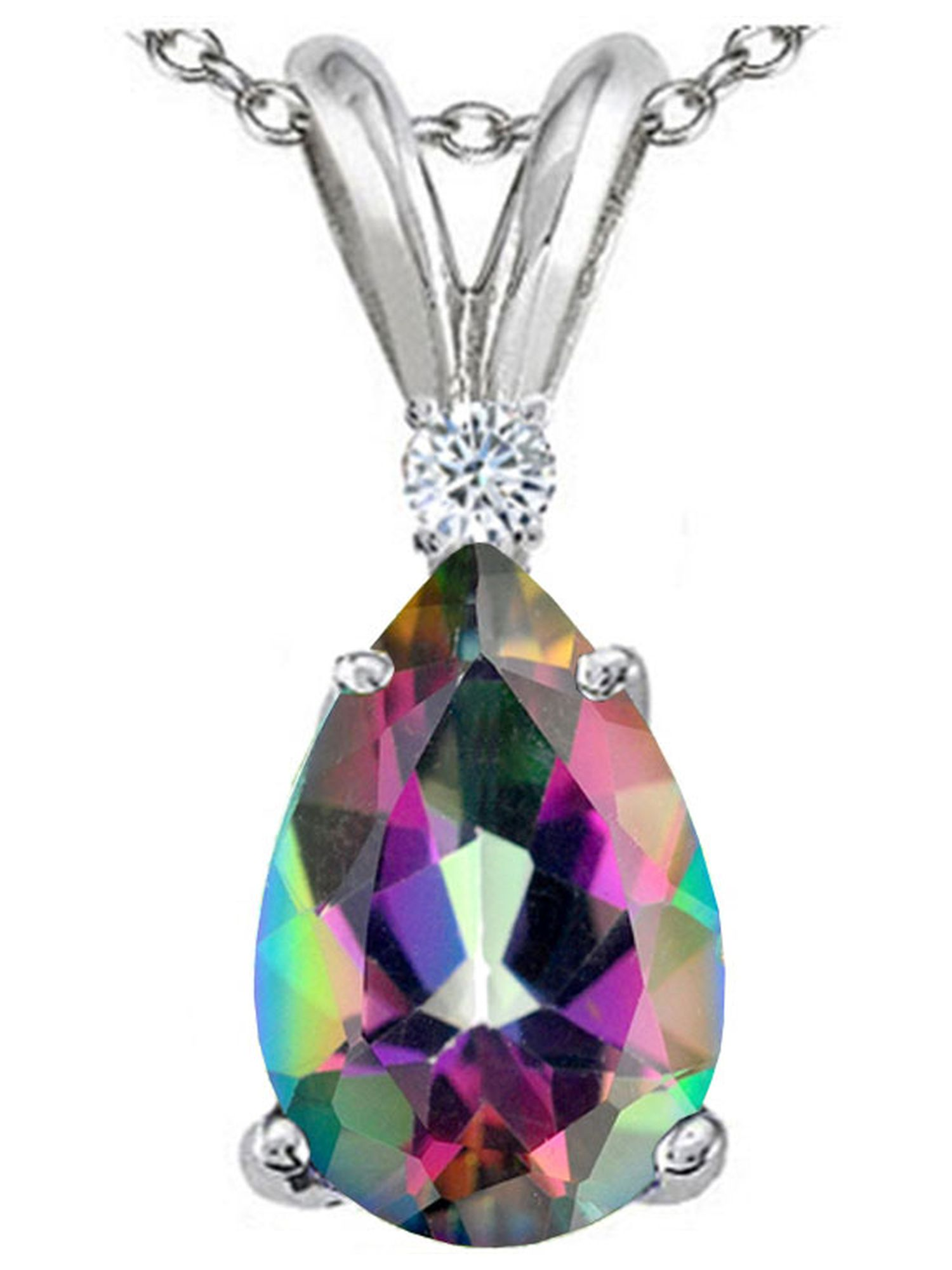 Tommaso Design Pear Shape 8x6mm Mystic Rainbow Topaz Pendant Necklace in 14 kt White Gold by