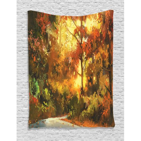 Fantasy Art House Decor Tapestry, Pathway in Autumn Forest with Shady Leaf of Deciduous Trees View, Wall Hanging for Bedroom Living Room Dorm Decor, 60W X 80L Inches, Orange Yellow, by Ambesonne ()