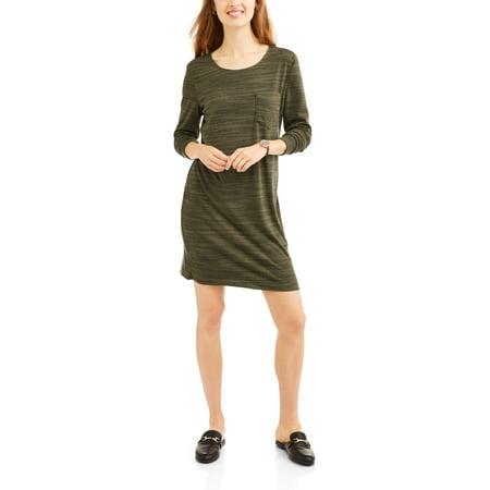 8e3b9cfde92 Mia Kaye - Women s Long Sleeve Fleece T-Shirt Dress - Walmart.com