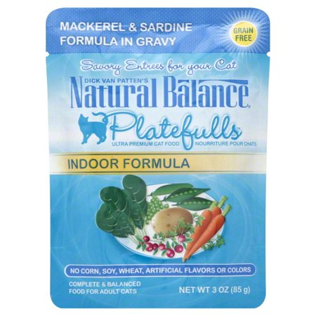 Natural Balance Platefulls Indoor Mackerel & Sardine Formula in Gravy Cat Pouch ()