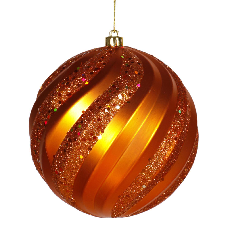 """Burnt Orange Glitter Swirl Shatterproof Christmas Ball Ornament 8"""" (200mm)"""