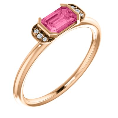 14k Rose Gold Pink Tourmaline Pink Tourmaline .025 Dwt Diamond Stackable Ring -- Size 6.5 by
