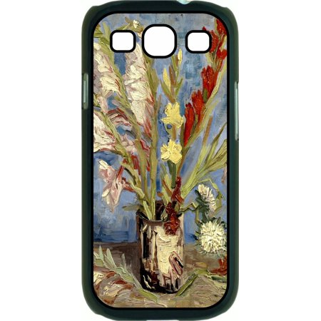 Artist Vincent Van Gogh's Gladioli and Chinese Asters Painting-Print Design Hard Black Plastic Case Compatible with the Samsung Galaxy s3 i9300