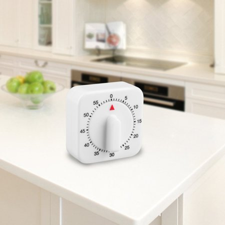 Lux 60 Minute Timer - Square 60 Minute Mechanical Kitchen Cooking Timer Food Preparation Baking