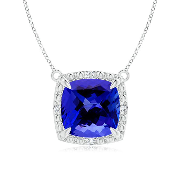 December Birthstone Pendant Necklaces Claw-Set Cushion Tanzanite Beaded Halo Pendant Necklace in .925 Sterling Silver... by Angara.com