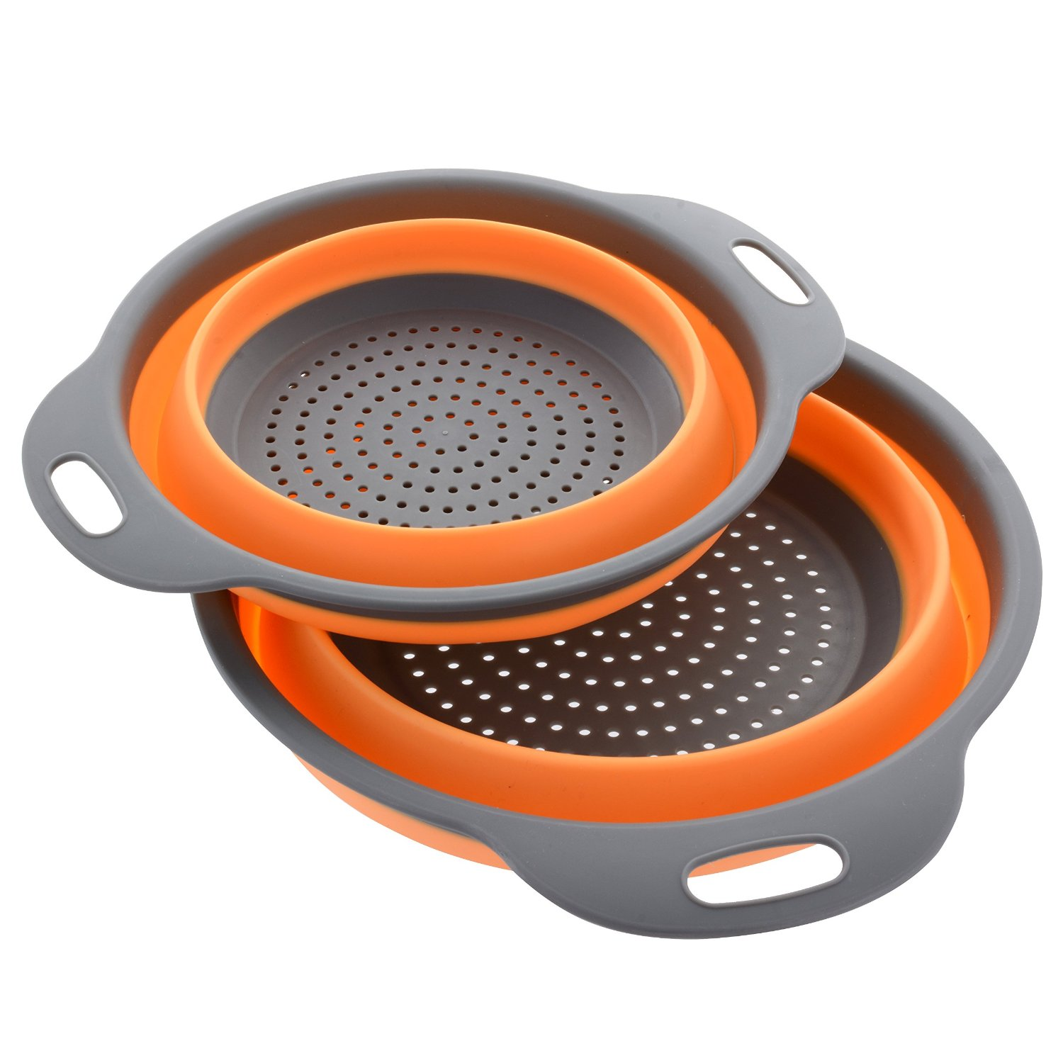 "Click here to buy 2 Collapsible Colanders (Strainers) Set By Comfify Includes 2 Folding Strainers Sizes 8"" 2 Quart and 9.5""."