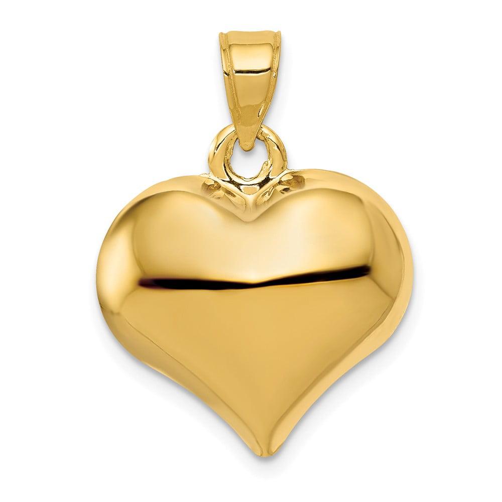 Diamond2Deal 14k Yellow Gold Puffed Heart Pendant