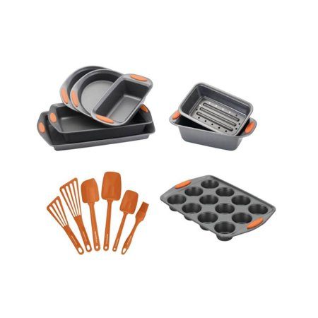 Rachael Ray 14 Piece Nonstick Bakeware Set & Cooking Tools in Gray and  Orange