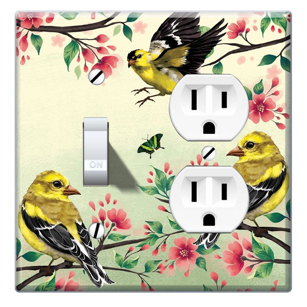 Wirester Double 1 Gang Toggle Light And 1 Gang Duplex Outlet Switch Plate Wall Plate Cover American Goldfinch Birds Walmart Com Walmart Com