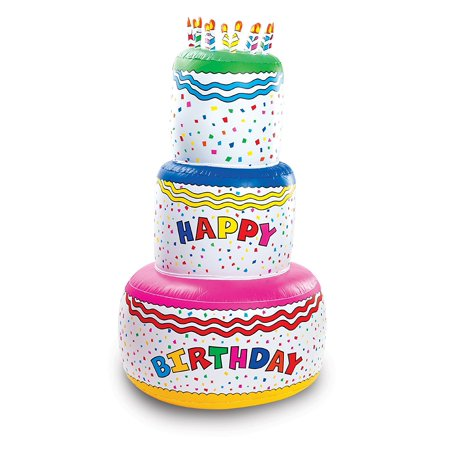 Jumbo Happy Birthday Inflatable Cake Party Decoration 6 Foot Inflated Height By Fun Express