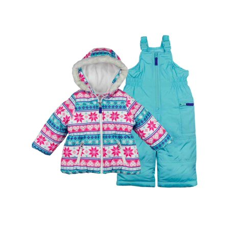 6f229d242 Carters - Carters Toddler Girls Snow Bibs & Winter Coat Set Blue Snowflake  Snowsuit 2T - Walmart.com
