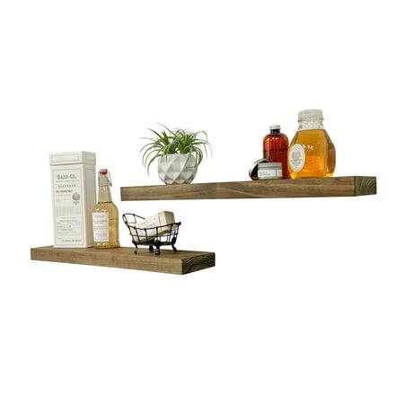 Del Hutson Designs 24-Inch Dark Walnut True Floating Shelves, Set of 2