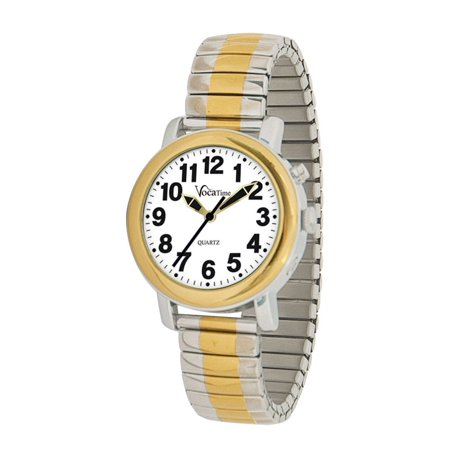 Womens BI-COLOR Talking Watch - Stainless Steel Expansion - Ladies Game Day Steel Watch