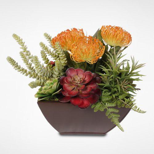 Brayden Studio Tropical Artificial Desktop Succulent Arrangement Plant in Metal Planter