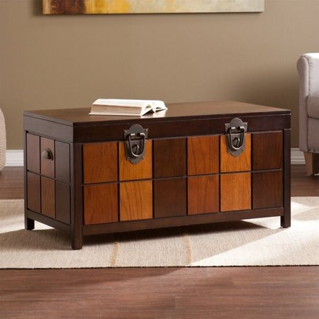 Southern Enterprises Hendrick Trunk Coffee Table In Espresso And Woods