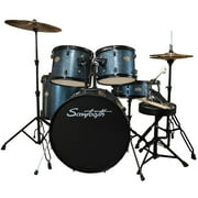 Rise by Sawtooth Full-Size Student Drum Set with Hardware and Zildjian Cymbals, Storm Blue Sparkle