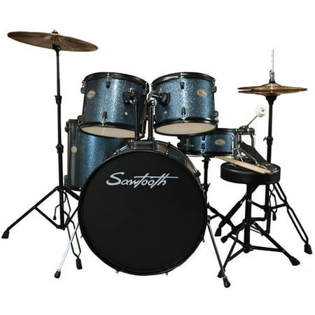 Drum Black Sparkle - Rise by Sawtooth Full-Size Student Drum Set with Hardware and Zildjian Cymbals, Storm Blue Sparkle