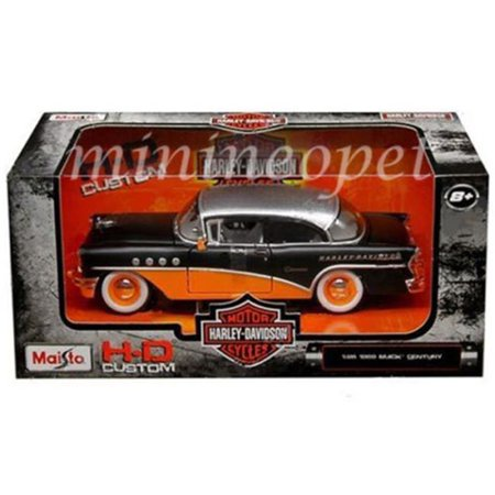 Buick Skyhawk Car - 1955 Buick Century Harley Davidson Black / Orange 1/26 Diecast Model Car by Maisto