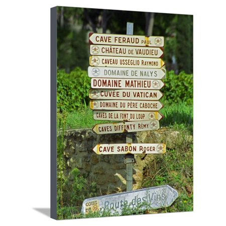 Road Signs to Wine Producers in Chateauneuf-Du-Pape, Provence, France Stretched Canvas Print Wall Art By Per