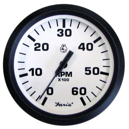 "Faria Euro 4"" Gauge, 6000RPM Tachometer, Gas, Inboard and I/O"