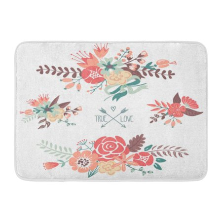GODPOK Peony Pink Vintage Cute Floral Bouquets Retro Flowers Green Wedding Clipart Rug Doormat Bath Mat 23.6x15.7 inch