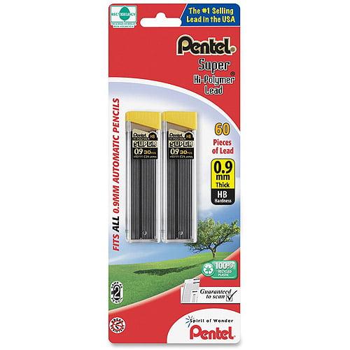Pentel Super Hi-Polymer Lead, 0.9mm, Thick, 60 ct