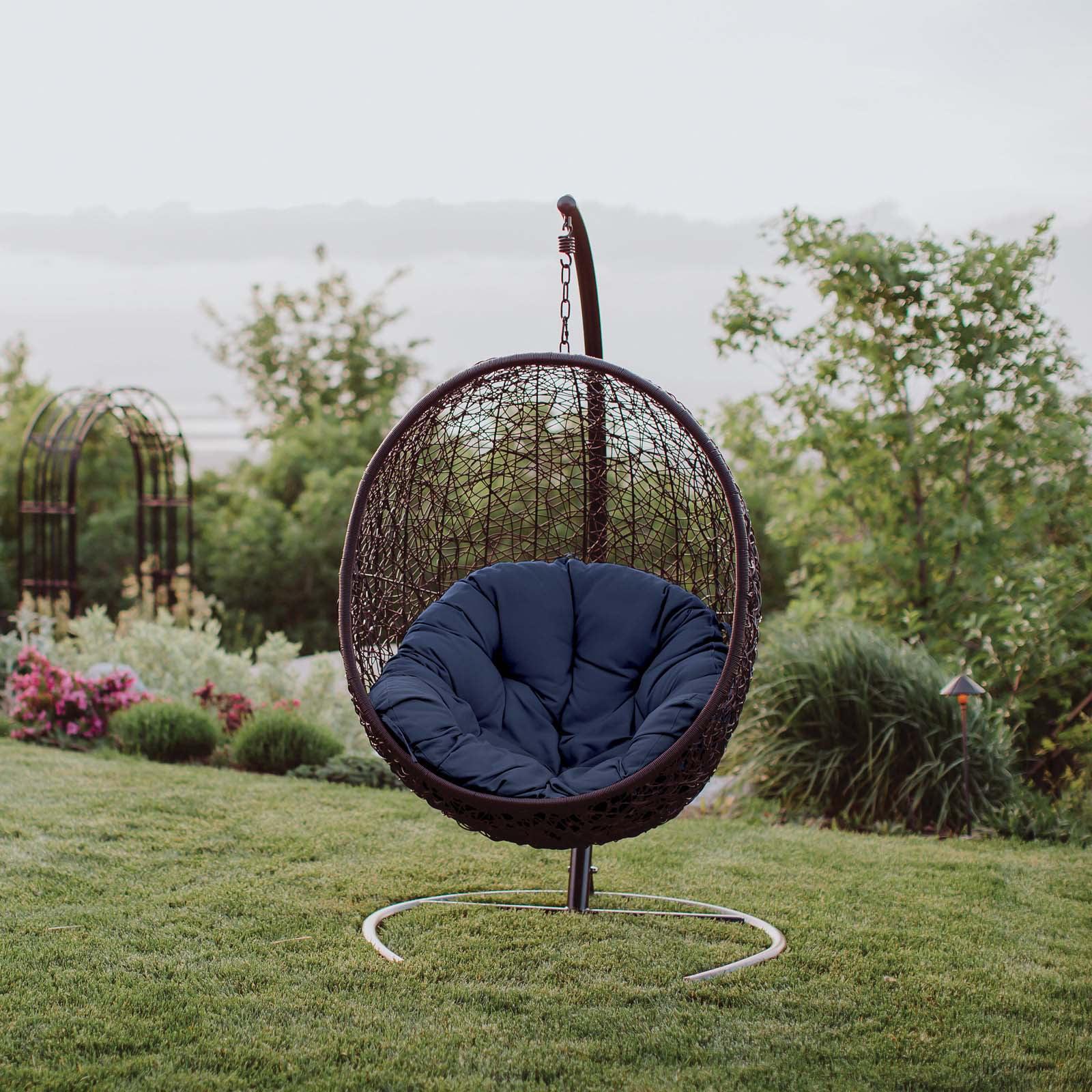 Modway Encase Outdoor Patio Swing Lounge Chair, Multiple Colors