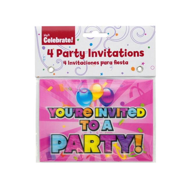 Bulk Buys KA139-72 Holographic Girl Party Invitations