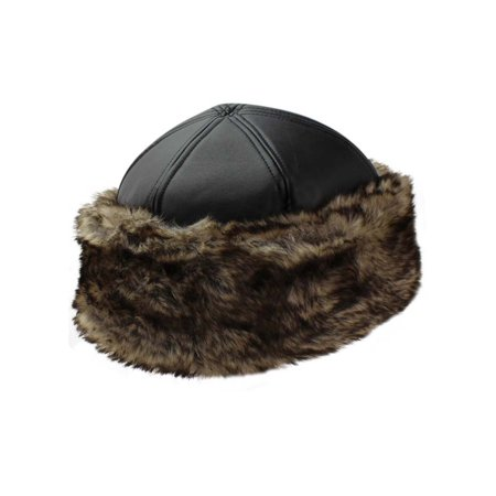 Black Faux Leather & Fur Trim Russian Hat With Quilted Lining