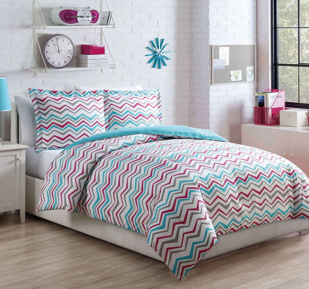 Microfiber Kids Chevron Love AquaPink Comforter Set Walmartcom