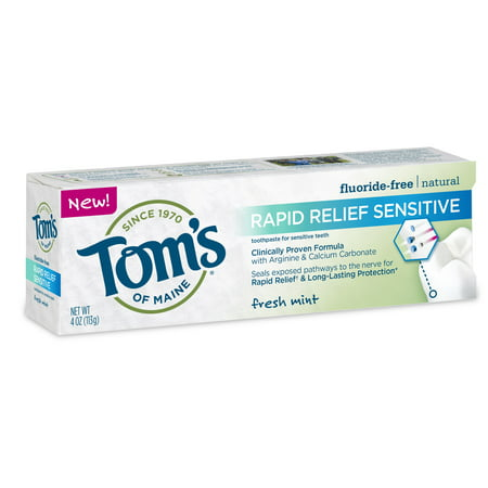 Tom's of Maine Rapid Relief Fluoride Free Sensitive Toothpaste, Fresh Mint, 4.0