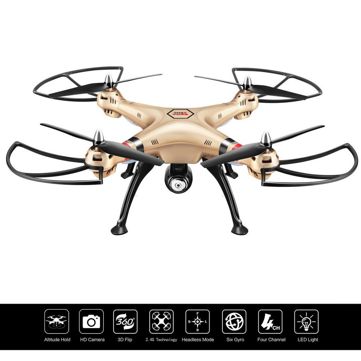 Costway Syma X8HC 2.4G 4CH 6-Axis Gyro RC Quadcopter Drone 2MP HD Camera UAV RTF UFO
