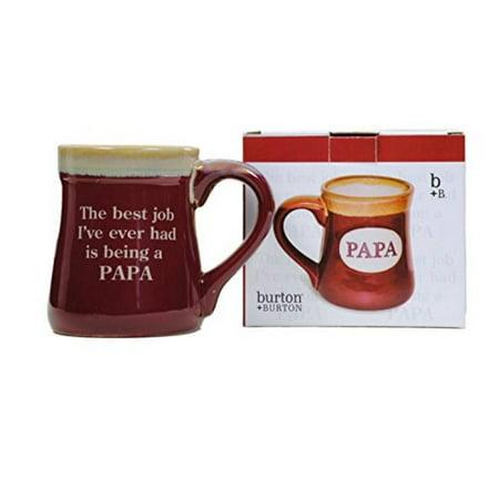 Papa Best Job Ever Porcelain Burgundy Coffee Tea Mug Cup 18oz Gift