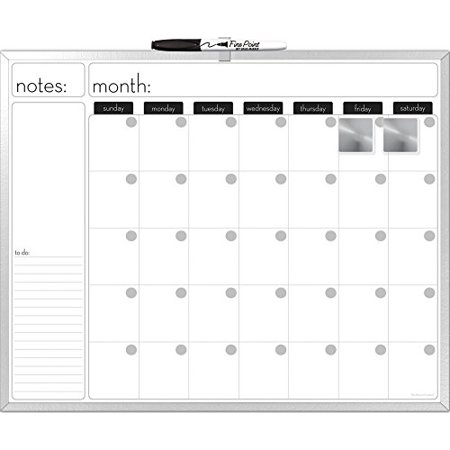 The Board Dudes XInches Aluminum Framed Magnetic DryErase - Black dry erase calendar