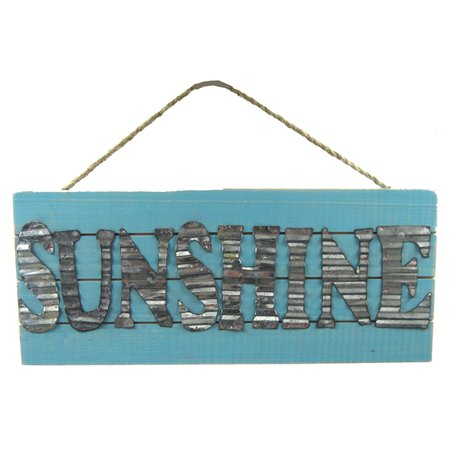 Sunshine Painted Wood and Metal Wall Plaque Sign 12 Inches