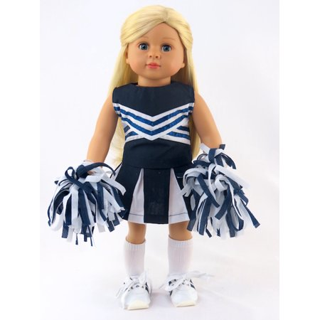 Navy Blue And White Doll Cheerleader Outfit With Matching Pom Poms And Tennis Shoes 18 Inch Doll Clothes Fits 18 American Girl Dolls Gotz Our